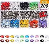 LOOEST Accesorios de Costura 100/200 Conjuntos 10 Colores Metal Costura Botones Hollow Solid Prong PRINGS Stark Sujetadores para Bolsas de Ropa para Tela de Jersey de Manualidades de Bricolaje