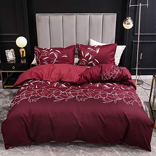 3-stück Stickerei Muster Elegante Bettbezug Set, Floral Bettwäsche Set,Gedruckt Bettdecken Kissenbezug,Mikrofaser Bettwäsche A Full