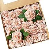 Fiori Artificiali, ACDE Rosa Artificiali 25 Pezzi Rose Finte Schiuma Aspetto Reale con Fog...