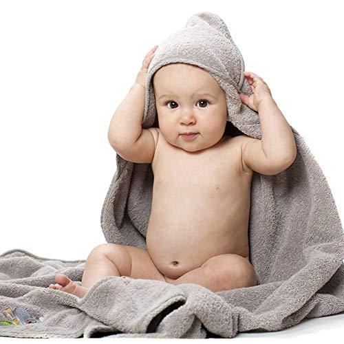 MJLOMJ Capa de Bano Bebé Recien Nacido Toallas de Bano Bebé con Capucha Algodon Organico Ultra Suave Extra Absorbente Manta con Capucha para Bebé, Niños Y Niñas,Gris