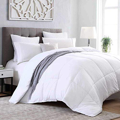 Kingsley Trend Down Alternative Quilted Stand Alone Comforter Duvet Insert All Season Soft Microfiber Hypoallergic Allergen Free Machine Washable - White - Queen (90 x 90)