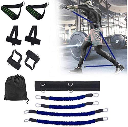 IUYT 100 Libras Salto Boxeo Entrenamiento De Agilidad Ejercicio Físico Dispositivo De Entrenamiento De Rebote Cuerda De Tracción Elástica Banda De Resistencia Traje Azul