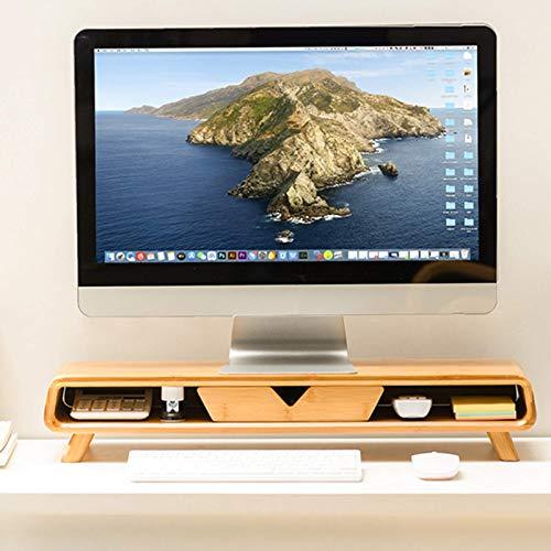 Gaohm Soporte vertical para monitor de escritorio para computadora, almacenamiento de organizador de estante de escritorio de bambú, con espacio de almacenamiento Elevador de monitor de computadora, p
