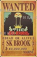 海賊アニメBrook小川 さびた錫のサインヴィンテージアルミニウムプラークアートポスター装飾面白い鉄の絵の個性安全標識警告バースクールカフェガレージの寝室に適しています
