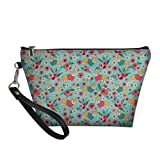 WELLFLYHOM Corgi Flower Cute Travel Meke-up Bags with Handle, Cosmetic Pouch Waterproof Pu Leather Clutch Organizer Purse with Zipper for Teenage Girl Gift