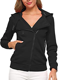 Women's Tops Thermal Long Hoodie Zip Up Jacket Hooded Warm Coat Casual Jackets