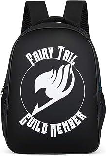 Mochila con gráficos japoneses en Blanco y Negro con diseño de Anime Fairy Tail Guild y símbolo de Arte Impreso, Bolso de Hombro, Bolso de Libros, Mochila de día Gris Gris Talla única