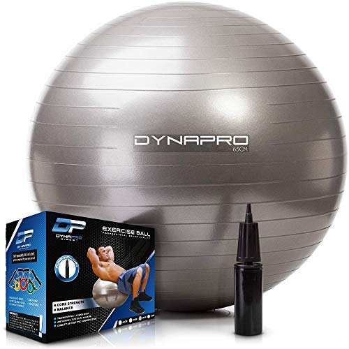 DYNAPRO Exercise Ball – Extra Thick Eco-Friendly & Anti-Burst Material Supports over 2200lbs, Stability Ball for Home, Yoga, Gym Ball, Birthing Ball, Physio Ball, Swiss Ball, Physical Therapy or Pregnancy (Silver, 65 Centimeters)