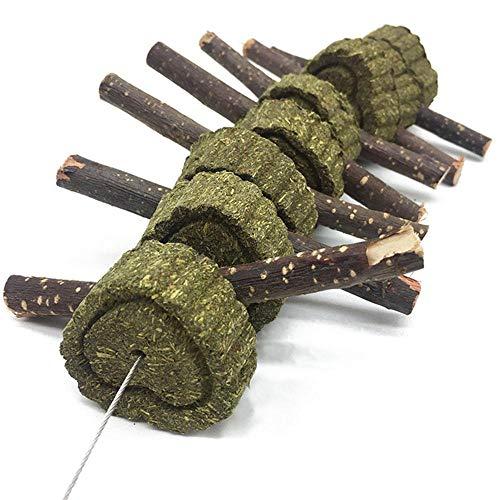 KOBWA Apple Sticks Pet Snacks Kauen Spielzeug, natürliche lustige Gras Behandlung Ball Haustier Katze Essbare Spielzeug Molaren für Kaninchen, Chinchillas, Hamster, Meerschweinchen - 4