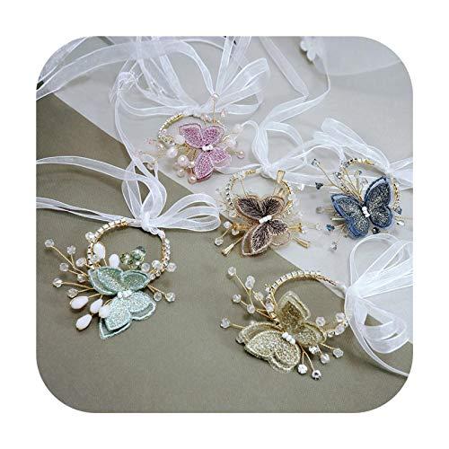Art Flower Corsages de boda hechos a mano cristales mariposa damas de honor flor niña muñeca pulsera accesorios nupciales colores mezclados