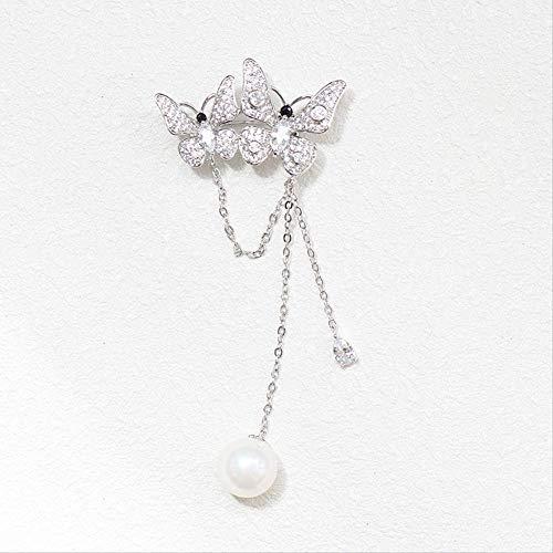 YUXIwang Broche de mariposa con flecos, hebilla de cárdigan salvaje temperamento, broche simple para mujer, 8,5 x 3,8 cm