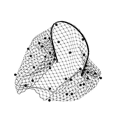 CQHUI Velo de la Diadema para el Cristal Nupcial Birdcage Black Face Mask Accesorios de joyería de Pelo Veiles Fascinadores de Bodas con Encanto (Color : 4 Black Pearls)