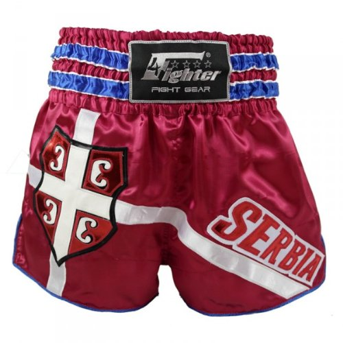 4Fighter Muay Thai Shorts National Serbien im Design des Nationaltrikots, Größe:XXS