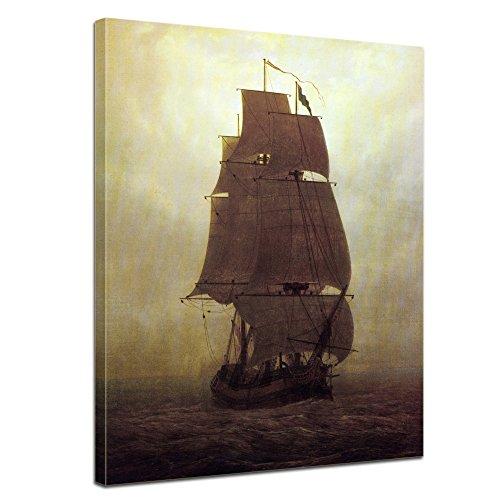 Leinwandbild Caspar David Friedrich Segelschiff - 90x120cm hochkant - Keilrahmenbild Wandbild Alte Meister Kunstdruck Bild auf Leinwand Berühmte Gemälde