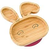 Plato con ventosa de succión para bebés y niños pequeños, queda en su sitio, hecho de bambú natural rojo cereza