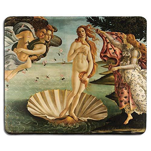 Not Applicable Art Mousepad - Tappetino per Mouse in Gomma Naturale con Famoso Dipinto di Belle Arti della Nascita di Venere di Sandro Botticelli - Bordi cuciti