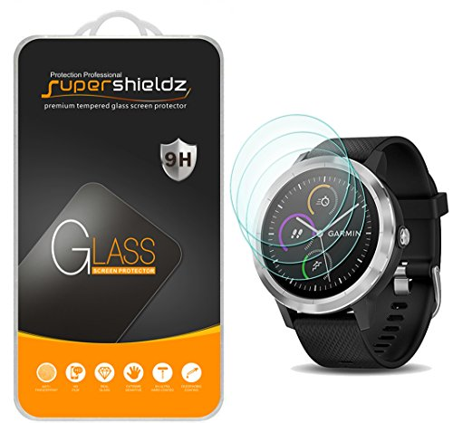 (3 Pack) Supershieldz Designed for Garmin (Vivoactive 3) (Not Fit for Vivoactive 3 Music) Tempered Glass Screen Protector, Anti Scratch, Bubble Free