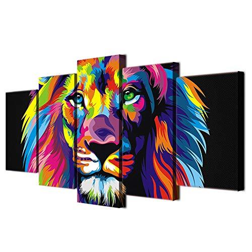 RDCHY Cuadro Lienzo Moderno 5 Piezas León de Color HD Imagen De Póster Impresión Artística, Combinación Pintura Decorativa para Salón De Hogar/Sin Marco