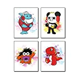 """Ryan's World Poster Wall Art Prints Set of 4 (8""""X10""""Canvas Picture) Children Nursery Wall Poster Art Painting Kids Boys Birthday Gift Teens Game Brothers Room Home Decor Unframed"""