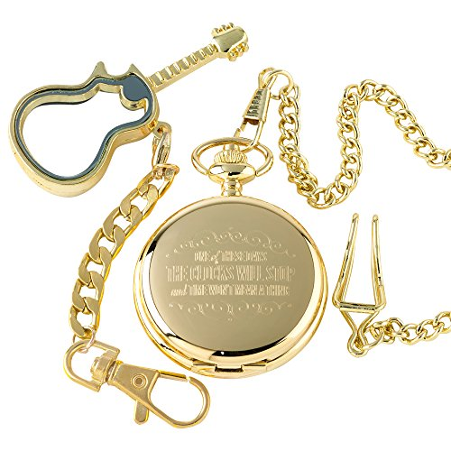 Foo Fighters These Days Gold Watch 24k Gold Coated Luxury Gift and Electric Glass Guitar Gold Plated Keyring Keychain in Wooden Gift Box Set a Great collectable for Dave Grohl Nirvana memorabilia