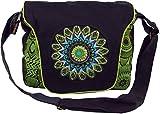 Guru-Shop Schultertasche, Hippie Tasche, Goa Tasche - Schwarz/grün, Herren/Damen, Baumwolle, Size:One Size, 22x28x6 cm, Alternative Umhängetasche, Handtasche aus Stoff