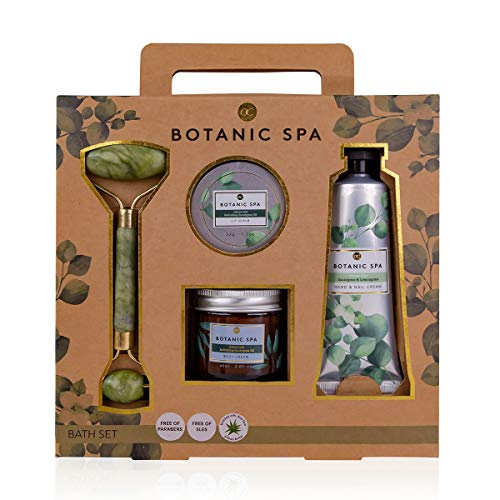 Accentra Beauty Geschenkset BOTANIC SPA mit Massageroller in Jade-Optik, Hand- & Nagelcreme, Körpercreme und Lippenpeeling, mit Sheabutter angereichert