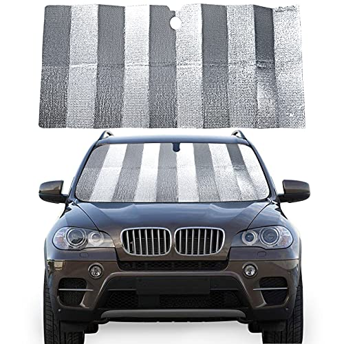 Oyefly Pare-soleil de voiture pour pare-brise avant, film en aluminium pliable, installation rapide sans accessoires, protection solaire pour pare-brise (130 x 70)