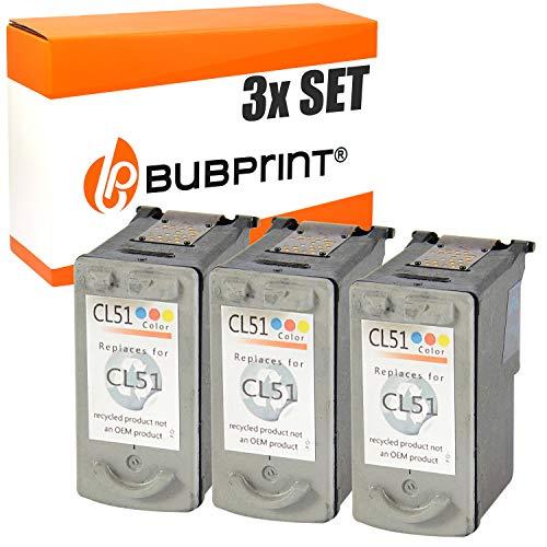 3 Bubprint Druckerpatronen kompatibel für Canon CL-51 für Pixma IP2200 IP6200 IP6210D IP6220D IP6300 IP6310D IP6320D MP150 MP160 MP170 MP180 MP450 MP450X MP460 MX300 MX310 Color