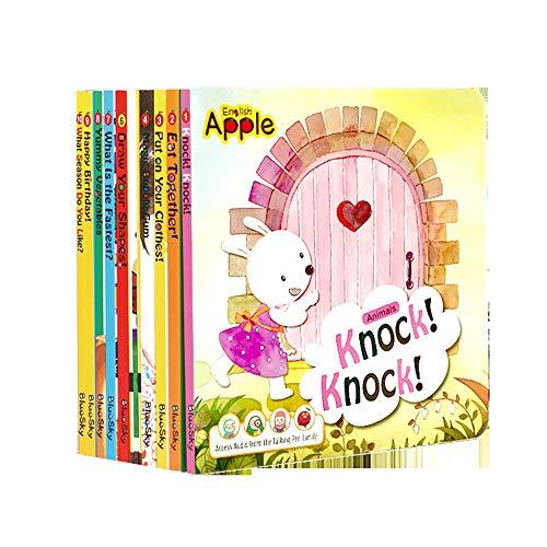 YzDnF Inglés Total de 10 Libros 0-6 bebé de los años Inglés Ilustración Historia Libro de imágenes for los niños De los niños Nuevas experiencias Libros (Color : Multi-Colored, Size : 18x18x9cm)