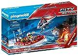 PLAYMOBIL City Action 70335 Operación de Bomberos con helicóptero y Barco, A Partir de 4 años