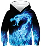 Blue Fire Hoodies for Boys Size 12-14 3D Smoke Print Pullover Youth Casual Flame Dragon Loose Fit Sweatshirts Teenagers Fashion Long Sleeve Jerseys Girls Round Neck Hooys with Pocket, Flaming 12T-16T