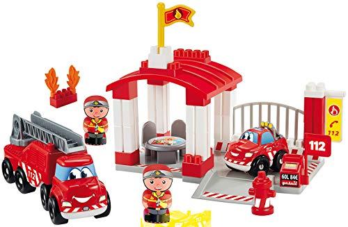 Jouets Ecoiffier -3014 - Caserne de pompiers Abrick – Jeu de construction pour enfants – Dès 18 mois – Fabriqué en France