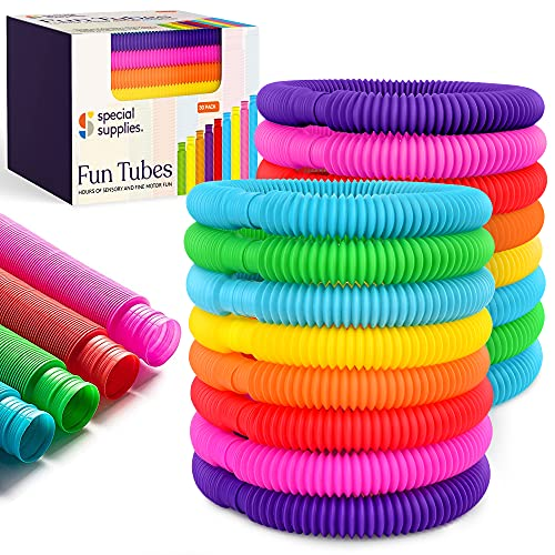 Special Supplies 30-Pack Fun Pull and Stretch Tubes for Kids - Pop, Bend, Build, and Connect Toy, Provide Tactile and Auditory Sensory Play, Colorful, Heavy-Duty Plastic