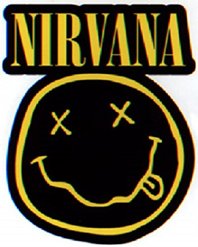 Aufkleber Sticker Nirvana Smiley Bands Musik Rock Grunge Kurt Cobain Rock'n'Roll