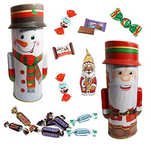 Père Noël et Bonhomme de neige garnis de 40 chocolats de Noel, Kinder Schokobons et mini bueno, Célébrations, Milka - LOT de 2