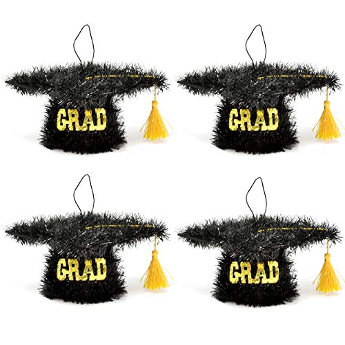 Graduation Tinsel Cap Table Toppers Party Supplies Decoration Set of 4 Hanging Gold & Black Grad Hat with Tassel Centerpiece for Congratulations Graduate School Classroom College Ceiling & Desk Decor