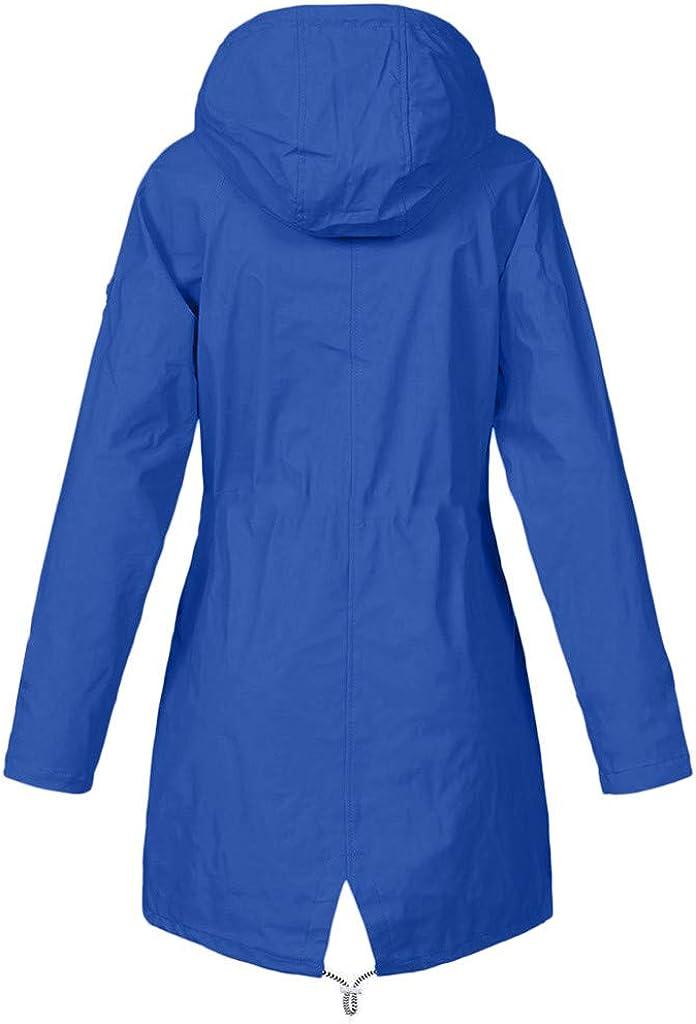 AmyGline Damen Winter Jacke Lange Parka Mantel Regenjacke Wasserdicht Winddicht Plus Plüsch Warme Fleecejacke Outdoor Softshelljacke Mit Kapuze Blau-b