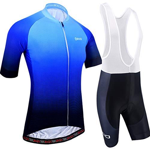 Maillot Ciclismo Hombre, Ropa Ciclismo y Culotte Ciclismo con Culotte Pantalones Acolchado 3D Deportes al Aire Libre Ciclo Bicicleta 198 (Blue Color, 4XL)