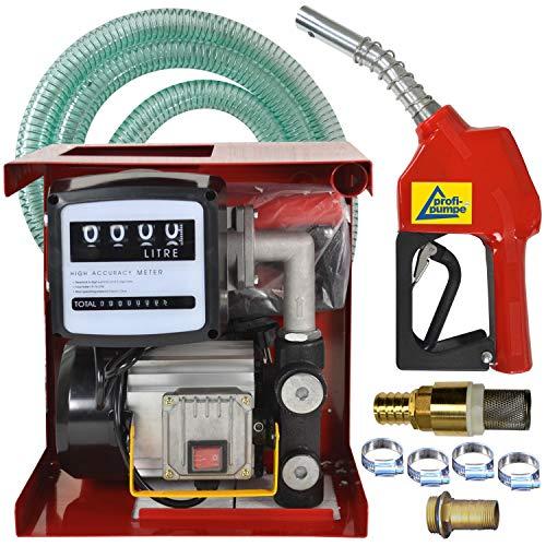 Dieselpumpe Heizölpumpe Biodiesel-Pumpe Umfüllpumpe Selbstansaugend Exelenz-2-230v-Pumpen-Set + Automatik-Zapf-Pistole Zählwerk Schlauch Messing-Rückschlagventil Tüllen Schellen