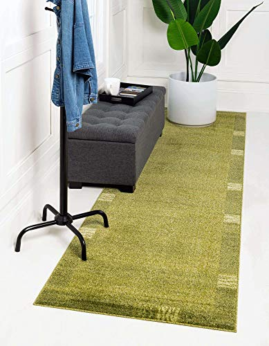 Unique Loom Del Mar Collection Contemporary Transitional Light Green Runner Rug (2' 7 x 10' 0)