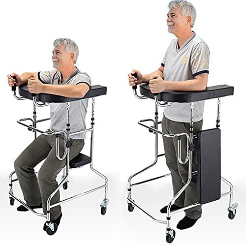 Walker plegable de cuatro pies con ruedas, con asiento, se puede plegar fácilmente, altura ajustable, para hombres y mujeres, color plateado
