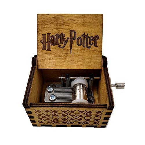 WZZDCaja De Música con Manivela Tallada En Madera Maciza Regalo Caja De Música Hecha A Mano De Madera Retro Multipista Harry Potter