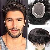 Toupee for Men Hair Unit Wig for Men Mono Lace Men's Wig Man Toupee Real Human Hair Pieces Men 1B# Off Black Color Man Hair Unit 6x9inch Lumeng