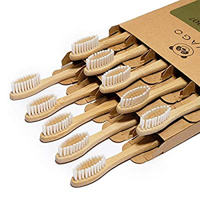 VIVAGO Biodegradable Eco-Friendly Natural Bamboo Toothbrushes BPA Free Soft Bristles, Compostable, Vegan, Organic Reusable Wooden Toothbrush (10 Pack)