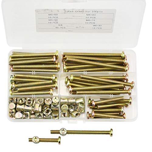 BIGP 100 Stück M6 Möbelschrauben, Möbel Flachkopfschraube, Schrauben Muttern, Zylinderschraubenmuttern, Bettverbinder-Schrauben Dübelmuttern für Möbel & Holz 40mm/50mm/60mm/70mm/80mm