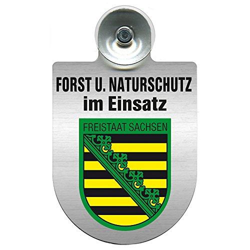 Einsatzschild mit Saugnapf - Forst u. Naturschutz im Einsatz 393813 incl. Regionenwappen nach Wahl Farbe Region Freistaat Sachsen