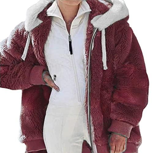 Tekaopuer Abrigo con capucha para otoño e invierno con cremallera, chaqueta con capucha de forro polar de peluche, sudadera con capucha suelta de felpa mullida con bolsillos, Z1-rojo, M