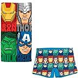 ARTESANIA Y DISEÑO TEXTIL, S.A. Bañador Avengers Los Vengadores Tipo Bóxer para niños + Toalla Vengadores Microfibra para Playa o Piscina (Azul, 4 años)