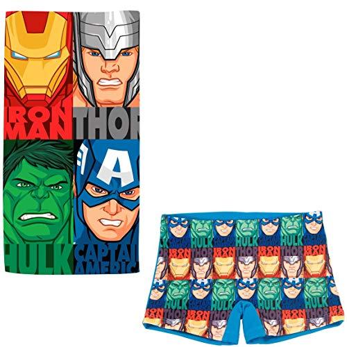 ARTESANIA Y DISEÑO TEXTIL, S.A. Bañador Avengers Los Vengadores Tipo Bóxer para niños + Toalla Vengadores Microfibra para Playa o Piscina (Azul, 6 años)