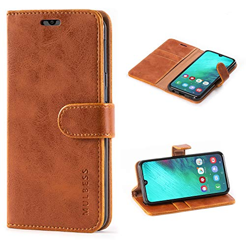 Mulbess Handyhülle für Samsung Galaxy A40 Hülle, Leder Flip Hülle Schutzhülle für Samsung Galaxy A40 Tasche, Cognac Braun